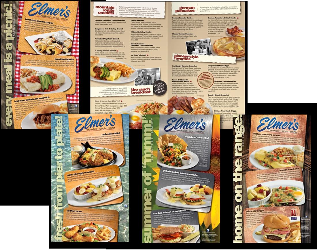 Elmer's Menu redesign